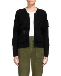 Whistles Black Fringe Detail Cardigan