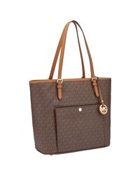 Michael Kors - Brown Michael Jet Set Item Leather Large Snap Pocket Tote Bag - Lyst