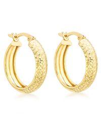 Ib&b - Metallic 9ct Yellow Gold Diamond Cut Creole Earrings - Lyst