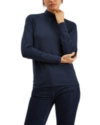 Jaeger Blue Jersey Ribbed Funnel Neck Top