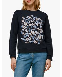 Whistles Blue Cotton Wheat Floral Sweatshirt