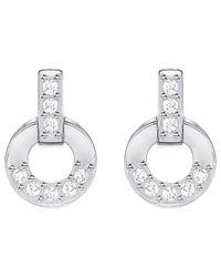 Swarovski - Metallic Circle Stud Pierced Earrings - Lyst