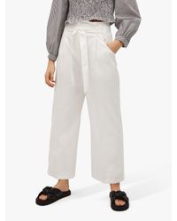 Mango White Belted Cotton Blend Trousers