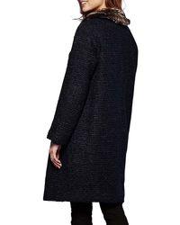 Yumi' Blue Faux Fur Trim Coat