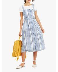Oasis Blue Stripe Button Front Midi Dress
