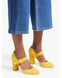 Boden Yellow Evie Block Heel Mary Jane Court Shoes