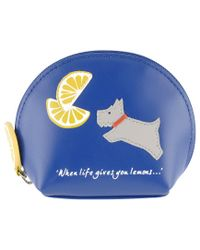Radley Blue Lemons Leather Small Coin Purse