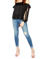 Miss Selfridge - Black Bow Detail Cold Shoulder Top - Lyst