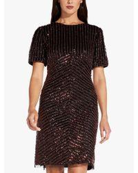 Adrianna Papell Black Sequin Beaded Dress
