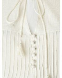East White Embroidered Yoke Blouse