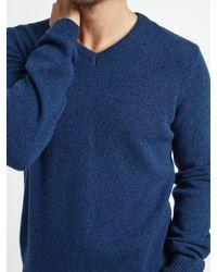 John Lewis - Blue Merino Cashmere V-neck Jumper for Men - Lyst