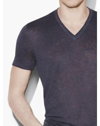 John Varvatos - Blue Linen V-neck for Men - Lyst