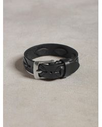 John Varvatos Black Leather Cuff With Laced Detail for men