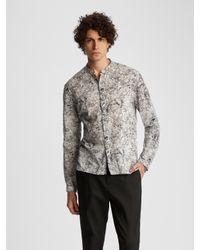 John Varvatos Multicolor Classic Fit Band Collar Shirt for men