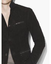 John Varvatos Black Slim Fit Button Front Closure Jacket With Cotter R for men