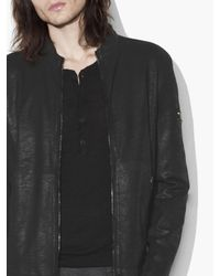 John Varvatos Black Laminated French Terry Jacket for men