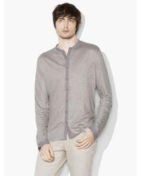 John Varvatos Gray Linen Band-collar Shirt for men
