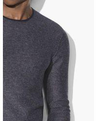 John Varvatos - Blue Jacquard Crewneck Sweater for Men - Lyst