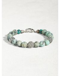 John Varvatos | Metallic Turquoise Bracelet With Sterling Silver Beads for Men | Lyst