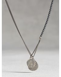 John Varvatos | Black Hematite Beaded Necklace With Coins for Men | Lyst