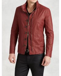 John Varvatos - Red Resin Coated Linen Jacket With Zip Out Hood for Men - Lyst