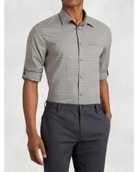 John Varvatos | Gray Cotton Rolled Sleeve Shirt for Men | Lyst