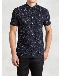John Varvatos - White Abstract Polka Dot Short Sleeve Shirt for Men - Lyst