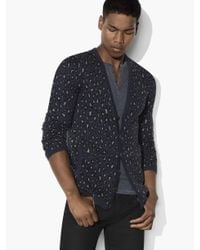 John Varvatos Blue Leopard Jacquard Cardigan for men