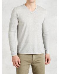 John Varvatos | Gray Pintuck V-neck Sweater for Men | Lyst