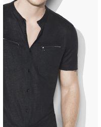 John Varvatos Black Linen Button Front Shirt for men