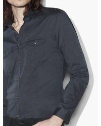 John Varvatos - Blue Slim Fit Military Shirt for Men - Lyst