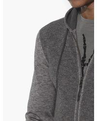 John Varvatos Gray Space-dyed Zip Hoodie for men