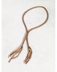 John Varvatos - Brown Woven Leather Bolo Necklace With Silver Tips for Men - Lyst