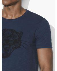 John Varvatos Blue Panther Chain Stitch Tee for men