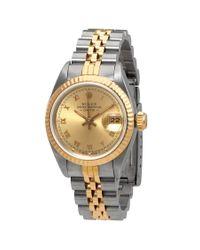 Rolex Metallic Pre-owned Datejust Champagne Dial Jubilee Bracelet Ladies Watch