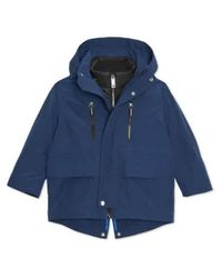 Burberry Blue Kids Hooded Parka With Quilted Jacket In Bright Navy, Brand