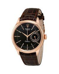 Rolex Multicolor Cellini Black Dial 18k Rose Gold Automatic Mens Watch for men