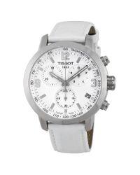 Tissot Metallic Prc 200 Chronograph White Dial Steel Watch