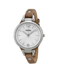 Fossil Metallic Georgia Silver Dial Tan Leather Watch