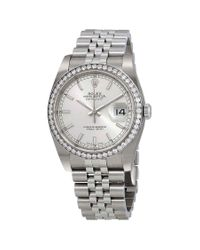 Rolex Metallic Oyster Perpetual Datejust 36 Silver Dial Stainless Steel Jubilee Bracelet Automatic Ladies Watch