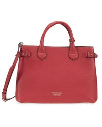 Burberry Medium Banner Leather And House Check Tote - Russet Red