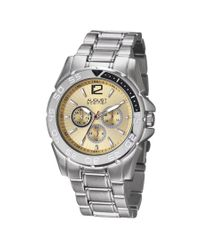 August Steiner Metallic Silver-tone Metal Multifunction Mens Watch for men