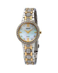 Seiko Metallic Core Solar Crystal Mother Of Pearl Dial Ladies Watch