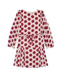Burberry Girls Lenka Polka Dot Silk Crepe Dress In Windsor Red Pattern