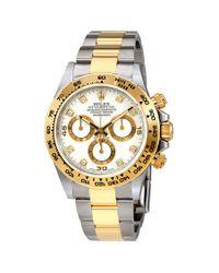 Rolex Metallic Oyster Perpetual Cosmograph Daytona White Diamond Dial Ladies Watch