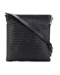 Bottega Veneta Black Intrecciato Weave Messenger Bag for men