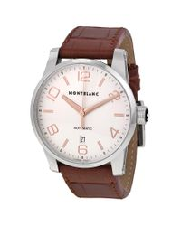 Montblanc Multicolor Pre-owned Timewalker Automatic Silver Dial Brown Leather Mens Watch for men