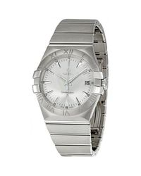 Omega Metallic Pre-owned Constellation 09 Quartz Silver Dial Mens Watch for men