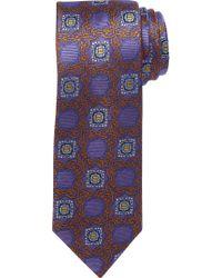 Jos. A. Bank - Blue Signature Gold Ornate Grid Medallion Tie for Men - Lyst