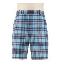 Jos. A. Bank Blue Stays Cool Tailored Fit Plain Front Plaid Shorts - Big & Tall Clearance By for men